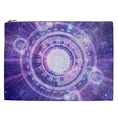 Blue Fractal Alchemy Hud For Bending Hyperspace Cosmetic Bag (xxl)