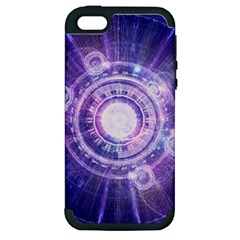 Blue Fractal Alchemy Hud For Bending Hyperspace Apple Iphone 5 Hardshell Case (pc+silicone)