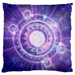 Blue Fractal Alchemy Hud For Bending Hyperspace Large Flano Cushion Case (one Side)