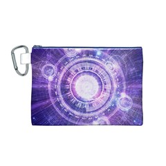 Blue Fractal Alchemy Hud For Bending Hyperspace Canvas Cosmetic Bag (m)