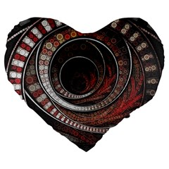 The Thousand And One Rings Of The Fractal Circus Large 19  Premium Heart Shape Cushions