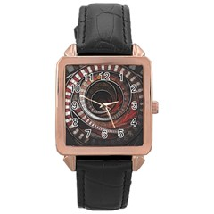 The Thousand And One Rings Of The Fractal Circus Rose Gold Leather Watch