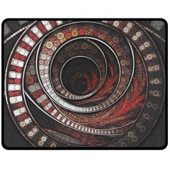The Thousand And One Rings Of The Fractal Circus Double Sided Fleece Blanket (medium)