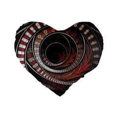 The Thousand And One Rings Of The Fractal Circus Standard 16  Premium Flano Heart Shape Cushions