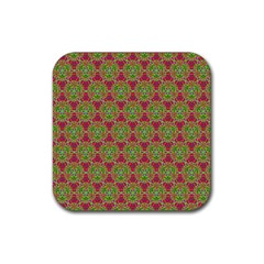 Red Green Flower Of Life Drawing Pattern Rubber Coaster (square)