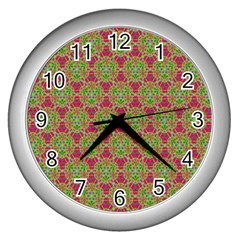 Red Green Flower Of Life Drawing Pattern Wall Clocks (silver)