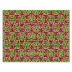 Red Green Flower Of Life Drawing Pattern Rectangular Jigsaw Puzzl