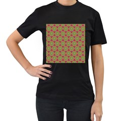 Red Green Flower Of Life Drawing Pattern Women s T Shirt (black) (two Sided)