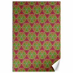 Red Green Flower Of Life Drawing Pattern Canvas 12  X 18