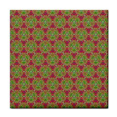 Red Green Flower Of Life Drawing Pattern Face Towel