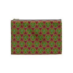 Red Green Flower Of Life Drawing Pattern Cosmetic Bag (medium)
