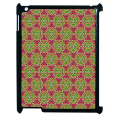 Red Green Flower Of Life Drawing Pattern Apple Ipad 2 Case (black)