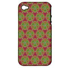 Red Green Flower Of Life Drawing Pattern Apple Iphone 4/4s Hardshell Case (pc+silicone)