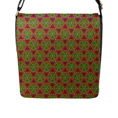 Red Green Flower Of Life Drawing Pattern Flap Messenger Bag (l)