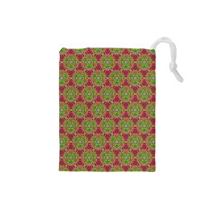 Red Green Flower Of Life Drawing Pattern Drawstring Pouches (small)