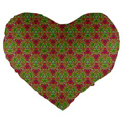 Red Green Flower Of Life Drawing Pattern Large 19  Premium Flano Heart Shape Cushions