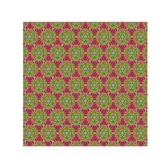 Red Green Flower Of Life Drawing Pattern Small Satin Scarf (square)
