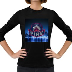 Chicago Fire With Skyline Women s Long Sleeve Dark T Shirts
