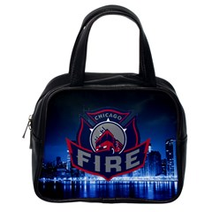Chicago Fire With Skyline Classic Handbags (one Side)