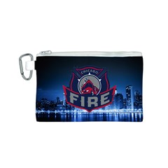 Chicago Fire With Skyline Canvas Cosmetic Bag (s)