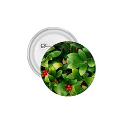 Christmas Season Floral Green Red Skimmia Flower 1 75  Buttons