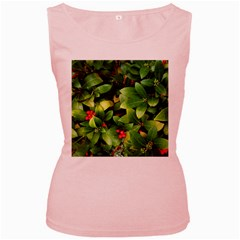 Christmas Season Floral Green Red Skimmia Flower Women s Pink Tank Top