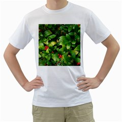 Christmas Season Floral Green Red Skimmia Flower Men s T Shirt (white) (two Sided)