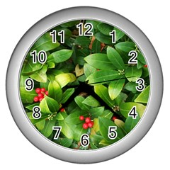 Christmas Season Floral Green Red Skimmia Flower Wall Clocks (silver)
