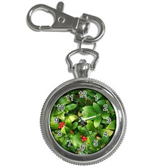 Christmas Season Floral Green Red Skimmia Flower Key Chain Watches