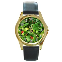 Christmas Season Floral Green Red Skimmia Flower Round Gold Metal Watch