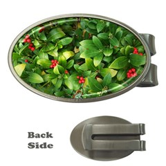 Christmas Season Floral Green Red Skimmia Flower Money Clips (oval)