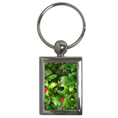 Christmas Season Floral Green Red Skimmia Flower Key Chains (rectangle)