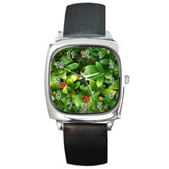 Christmas Season Floral Green Red Skimmia Flower Square Metal Watch