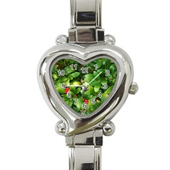 Christmas Season Floral Green Red Skimmia Flower Heart Italian Charm Watch