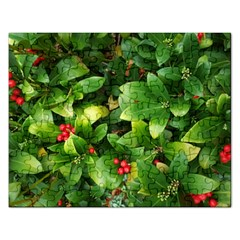 Christmas Season Floral Green Red Skimmia Flower Rectangular Jigsaw Puzzl
