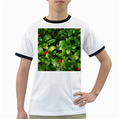 Christmas Season Floral Green Red Skimmia Flower Ringer T Shirts