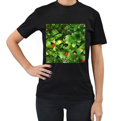 Christmas Season Floral Green Red Skimmia Flower Women s T Shirt (black) (two Sided)
