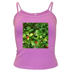 Christmas Season Floral Green Red Skimmia Flower Dark Spaghetti Tank