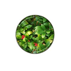 Christmas Season Floral Green Red Skimmia Flower Hat Clip Ball Marker (10 Pack)