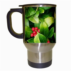 Christmas Season Floral Green Red Skimmia Flower Travel Mugs (white)