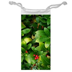 Christmas Season Floral Green Red Skimmia Flower Jewelry Bag