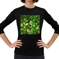 Christmas Season Floral Green Red Skimmia Flower Women s Long Sleeve Dark T Shirts