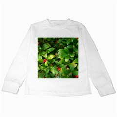 Christmas Season Floral Green Red Skimmia Flower Kids Long Sleeve T Shirts