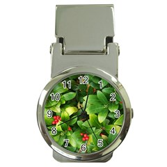 Christmas Season Floral Green Red Skimmia Flower Money Clip Watches