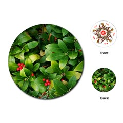 Christmas Season Floral Green Red Skimmia Flower Playing Cards (round)