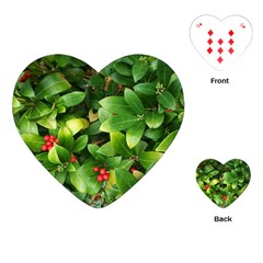 Christmas Season Floral Green Red Skimmia Flower Playing Cards (heart)