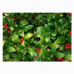 Christmas Season Floral Green Red Skimmia Flower Large Glasses Cloth