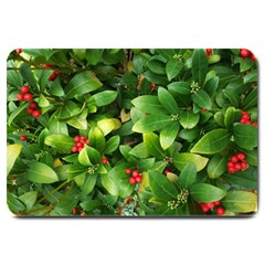 Christmas Season Floral Green Red Skimmia Flower Large Doormat