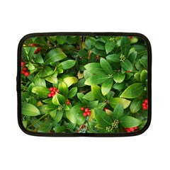 Christmas Season Floral Green Red Skimmia Flower Netbook Case (small)