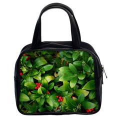 Christmas Season Floral Green Red Skimmia Flower Classic Handbags (2 Sides)